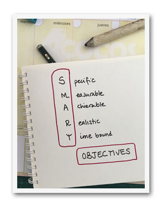 Objetivos Smart para un plan de marketing. Específicos, medibles, alcanzables, realistas y limitados en el tiempo.